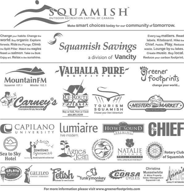 Sponsors of the 2009 Squamish reusable bag